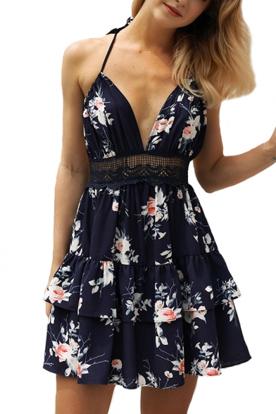 Hollow Dress Insert Floral Lace Mini Line A Halter Back Printed Out 6RxOSCw