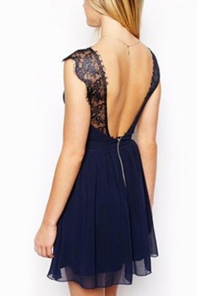 Lace Insert Backless V Neck Sleeveless Mini A-Line Dress