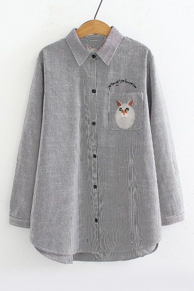 Купить со скидкой Letter Cat Embroidered Pocket Button Down Long Sleeve Lapel Collar Tunic Shirt