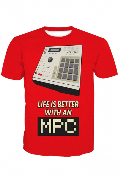 LIFE IS BETTER Letter Machine Printed Round Neck Short Sleeve Tee