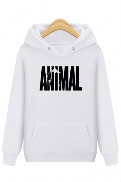 ANIMAL Long Sleeve Letter Printed Loose Leisure Hoodie SOW5vqS7B