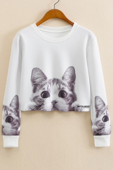 Cat Long Crop Lovely Printed Pullover Round Neck Sweatshirt Sleeve gPwTFq