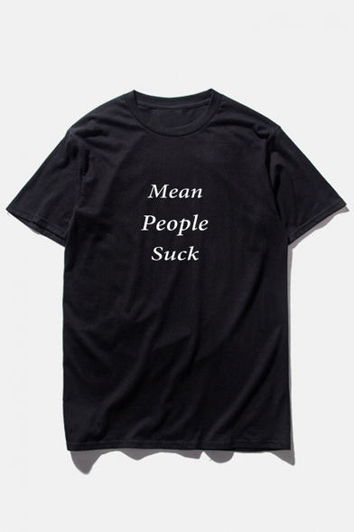 PEOPLE Printed MEAN Round Letter SUCK Short Neck Tee Sleeve dnnw4pq