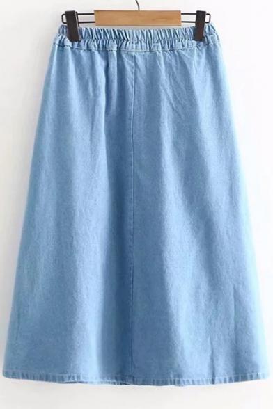 470b34a0cb5c ... Rabbit Embroidered Button Front Elastic Waist Midi A-Line Denim Skirt  ...