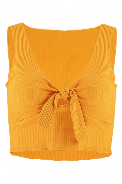 Sexy Crop Plain V Tank Sleeveless Ribbed Neck Front Knotted rnCw0xqHr