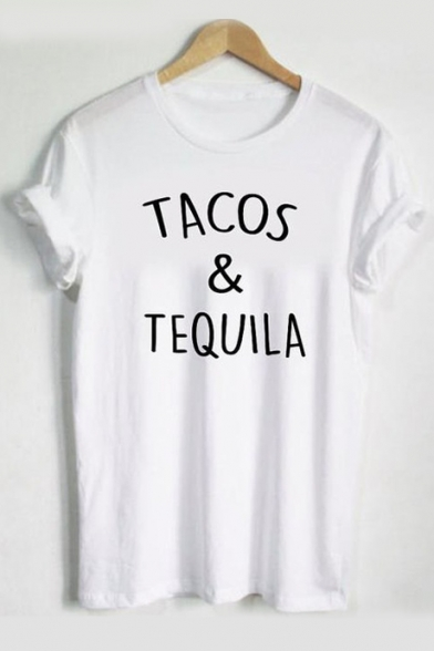 Round Tee Printed Letter Neck Short TACOS TEQUILA Sleeve t6vqwHq