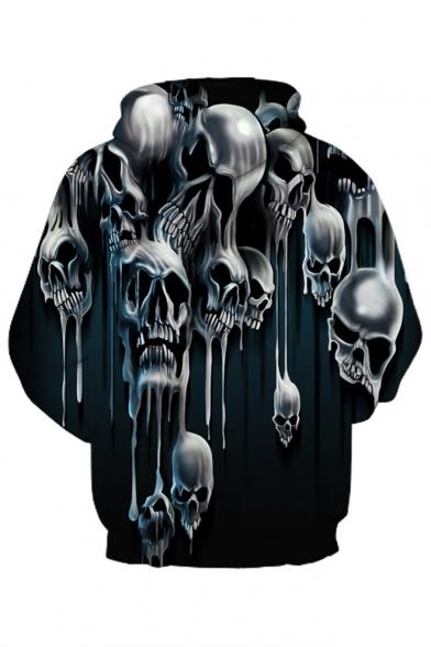 3D Skull Long Hoodie Unisex Loose Sleeve Printed ZrUTZ5wq