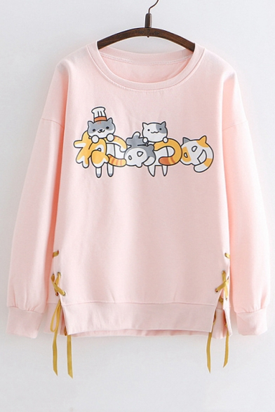 Cat Printed Round Neck Long Sleeve Lace Up Side Sweatshirt