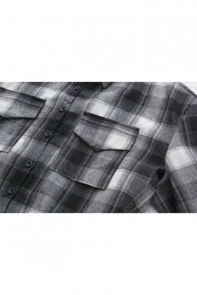 Classic Plaid Printed Lapel Collar Long Sleeve Button Down Dip Hem Shirt