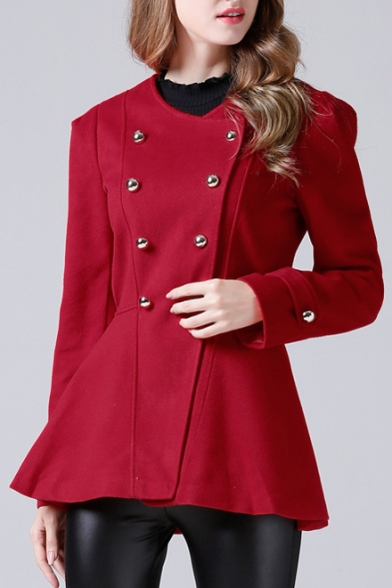 Sleeve Double Trendy Coat Plain Long Collarless Breasted vqOpzWw