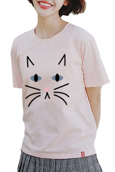 Half Dip Cat Tee Round Printed Hem Sleeve Neck SqXqf87