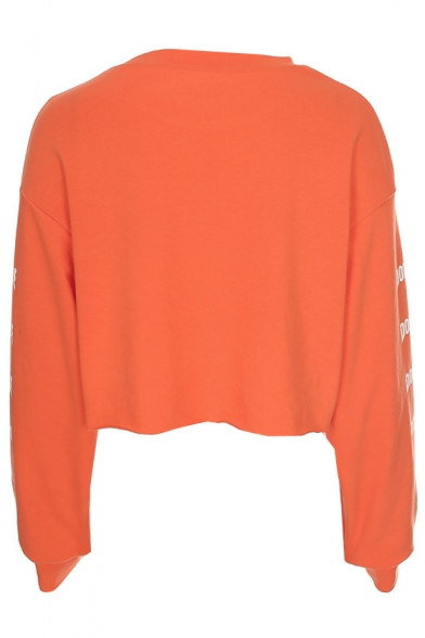 Printed DOUBLE Sweatshirt Crop Sleeve Round Neck Letter Long 58x0Hq8Zw