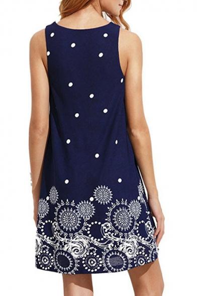Fashion Mini Neck Dot Swing Dress Round Sleeveless Polka Printed rZYnxwWrT