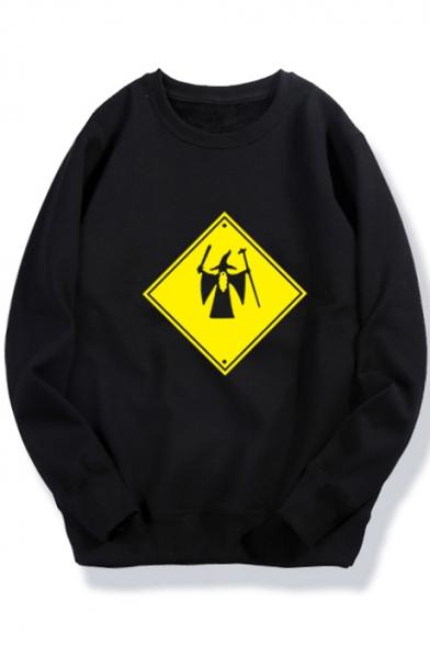 Geometric Character Printed Long Sleeve Round Neck Sweatshirt