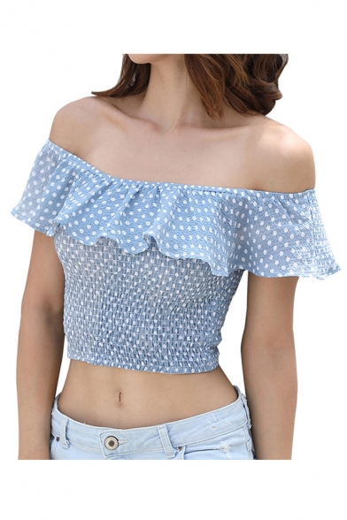 Polka Dot Printed Off The Shoulder Short Sleeve Elastic Crop Tee