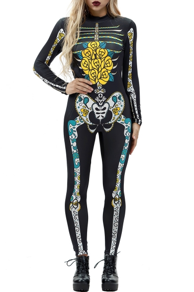 Skeleton Floral Printed High Neck long Sleeve Skinny Jumpsuit