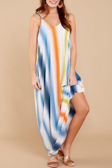 Spaghetti Straps Sleeveless Striped Printed Maxi Cami Dress