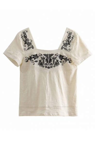 Embroidered Short Blouse Square Neck Sleeve Floral g6na7q