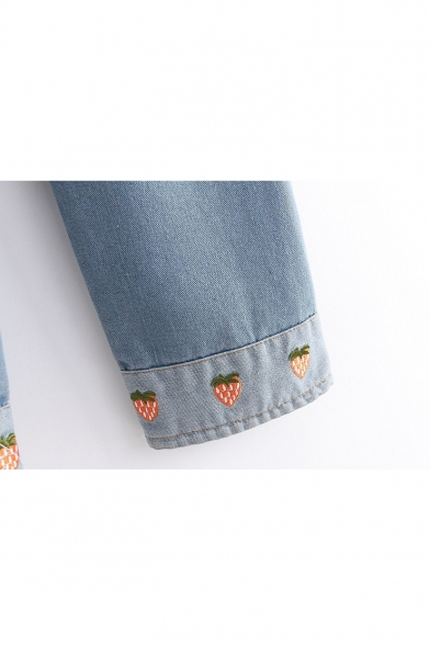 Strawberry Embroidered Faded Roll Cuff Elastic Waist Jeans