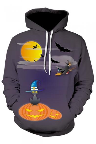 3D Halloween Series Printed Long Sleeve Leisure Hoodie