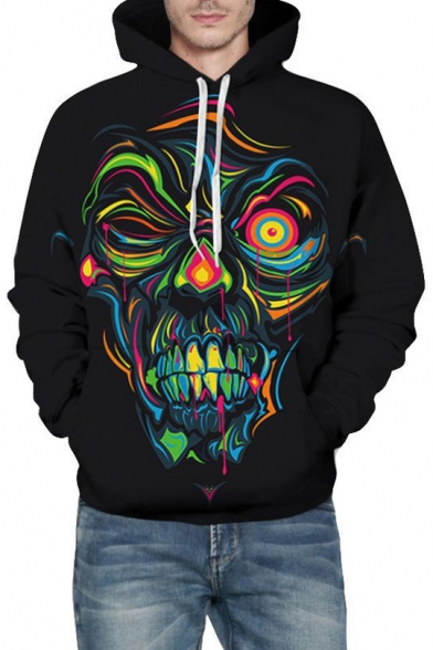 Hoodie Unisex Sleeve Long Abstract Character Printed TqOzYX