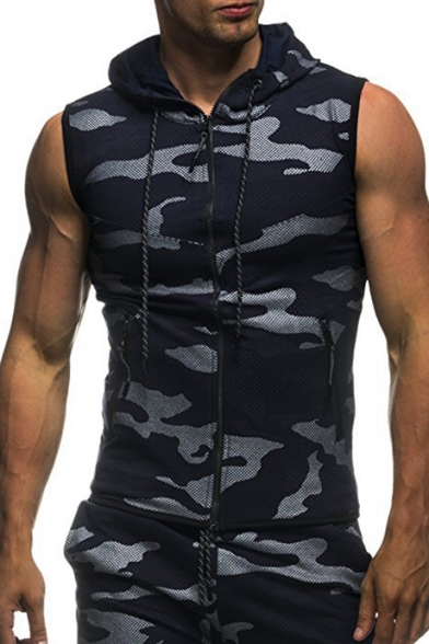 Camouflage Hooded Slim Up Sleeveless Vest Zip Printed qCqv4