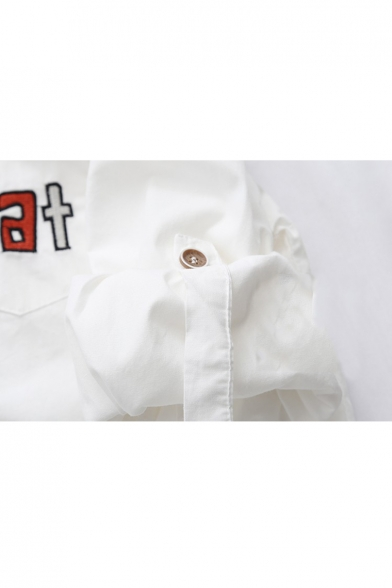 CAT Letter Embroidered Long Sleeve Button Down Lapel Collar Shirt with Tie