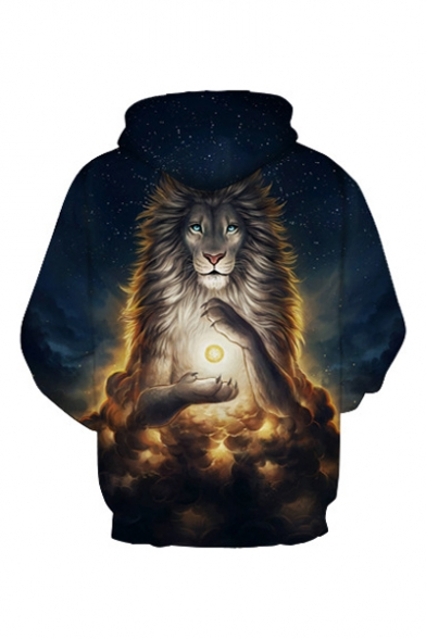 Lion Printed Starry Long Sky Sleeve Loose Hoodie Digital qpZ4HnxEw4