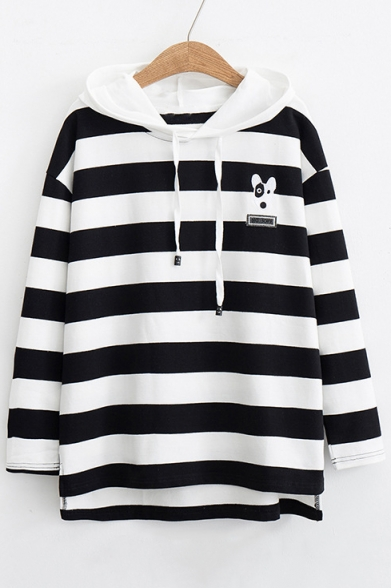 Long Sleeve Hoodie Embroidered Printed Dog Color Block Striped wTn7YYXvxq