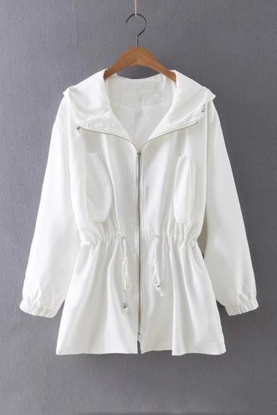 Long Up Coat Sleeve Plain Zip Drawstring Tunic Hem Hooded nFOt1Iqwv