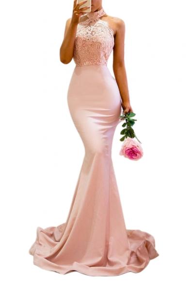 Elegant Halter Sleeveless Lace Insert Maxi Pencil Party Dress