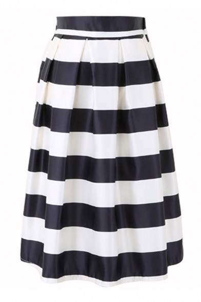 Elegant Striped Printed Elastic Waist Midi A-Line Skirt