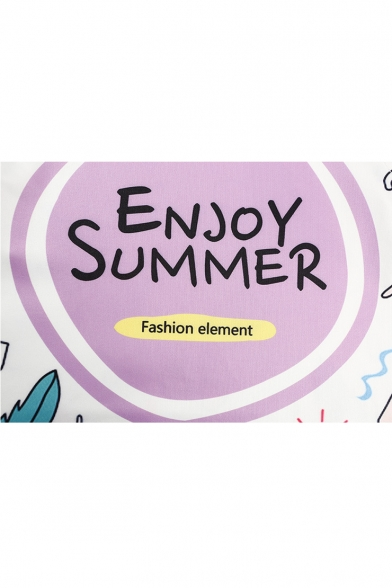 Printed Crop Cartoon Letter SUMMER Round Neck Tank Sleeveless ENJOY UTntpxq0w