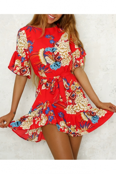Floral Printed Round Neck Ruffle Short Sleeve Tie Waist Mini A-Line Dress