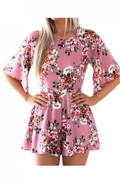 Hollow Out Back Half Sleeve Floral Printed Round Neck Loose Romper