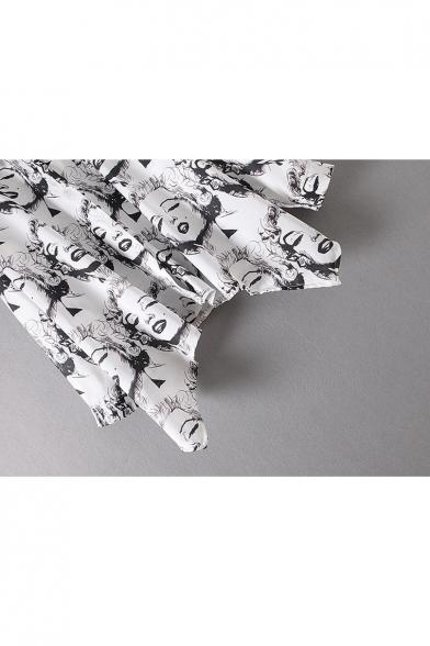 Lapel Collar Button Down Character Printed Long Sleeve Asymmetric Hem Shirt