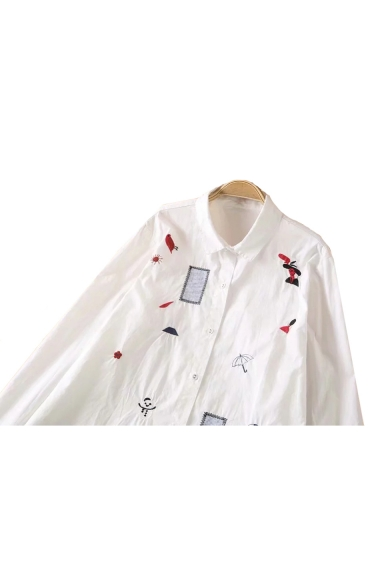 Lapel Leisure Down Long Tunic Collar Button Shirt Embroidered Cartoon Sleeve r4xfvqr