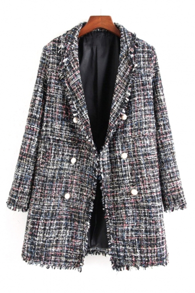 Notched Lapel Collar Long Sleeve Double Breasted Plaid Printed Tunic Coat