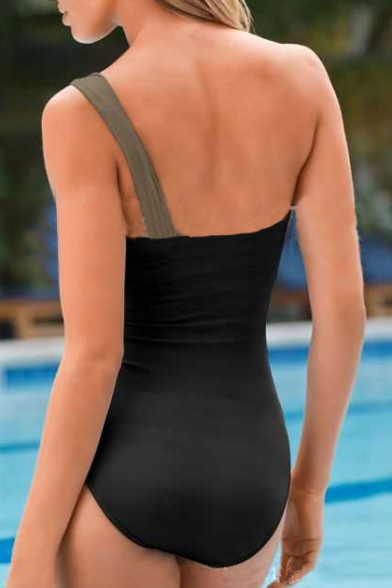One Pleated Swimwear One Shoulder Hollow Sleeveless Piece Out 4dqgzgw