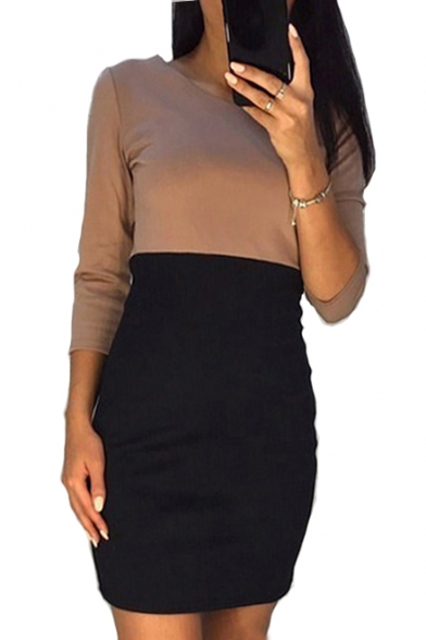 Image of 3/4 Length Sleeve Round Neck Color Block Mini Pencil Dress