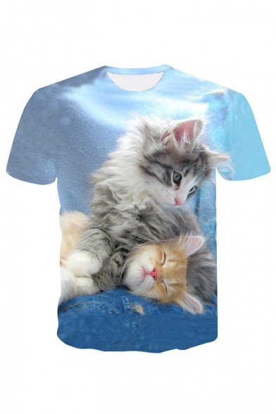 Neck Tee Cats Printed 3D Round Short Sleeve vdtTwwqY