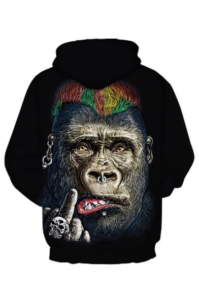Sleeve Printed Orangutan Hoodie Loose 3D Long Leisure AP4wqOxf