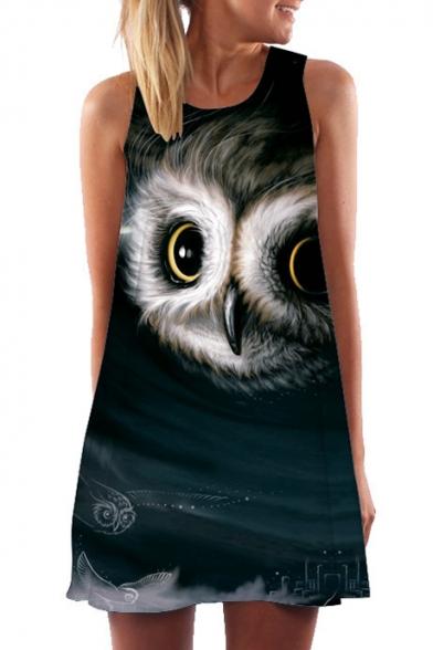 3D Owl Printed Round Neck Sleeveless Mini A-Line Dress