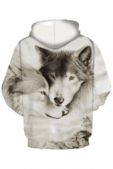 Printed Long Hoodie Loose Sleeve 3D Wolves Unisex 5FnYF46