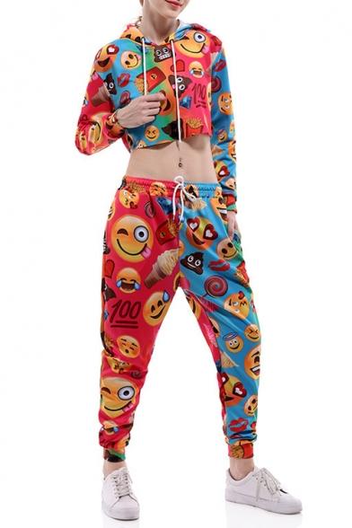 Cartoon Emoji Printed Long Sleeve Crop Hoodie with Drawstring Waist Loose Pants Co-ords
