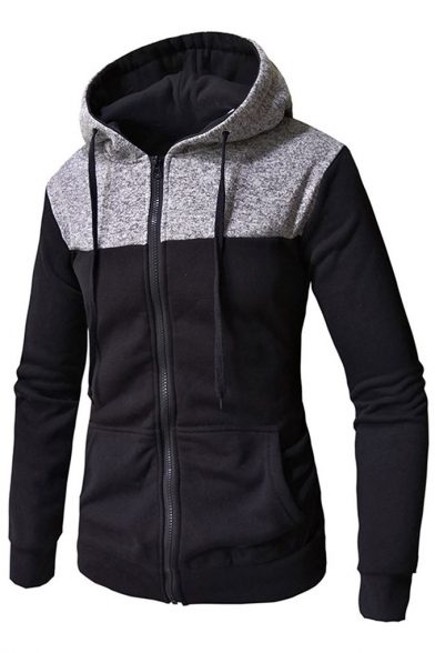 Long Zip Patchwork Hoodie Casual Up Color Sleeve Block SqnFwp