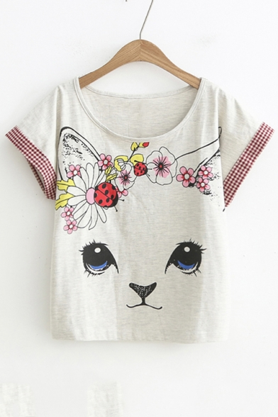 Sleeve Color Striped Printed Round Block Neck Loose Short Cat Tee 660rq