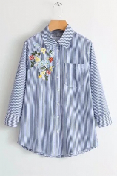 Floral Embroidered Striped Printed Long Sleeve Lapel Collar Button Down Shirt