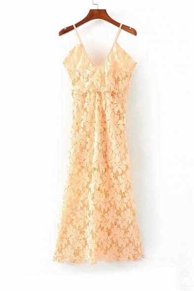 Floral Lace Spaghetti Straps Sleeveless Midi Cami Dress