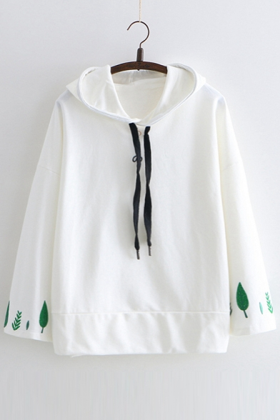 Japanese Leaf Embroidered Leisure Loose Long Sleeve Hoodie